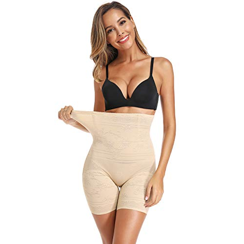 Joyshaper Women High Waist Slimming Panties Seamless Shapewear Slip Shorts Tummy Control Thigh Slimmer (Beige, XL)