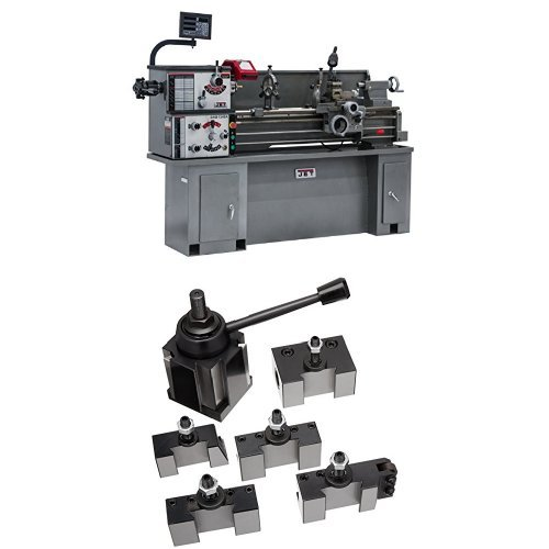JET 321130 BDB-1340A-C80 13-Inch Swing by 40-Inch Belt Drive Metalworking Lathe with Newall C80 Digital Readout, 230-Volts 1 Phase with 200 Series Quick Change Tool Post Set by WMH Tool Group