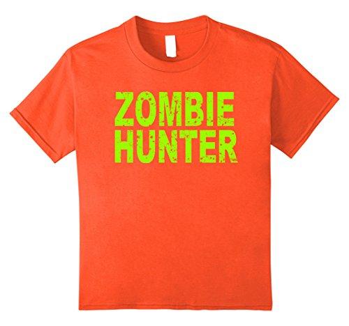 Kids Zombie Hunter T Shirt Scary Halloween 8 Orange