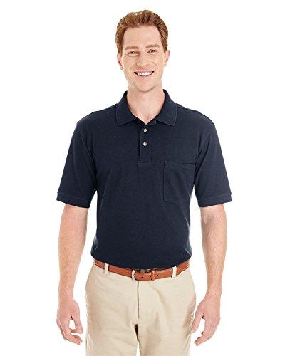 Harriton Mens Ringspun Cotton Piqué Short-Sleeve Pocket Polo (M200P) -NAVY -2XL