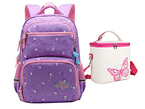 Tonlen Kids' Girl's Children's Cute Middle Elementary School Backpack and Lunch Box for Girls Purple