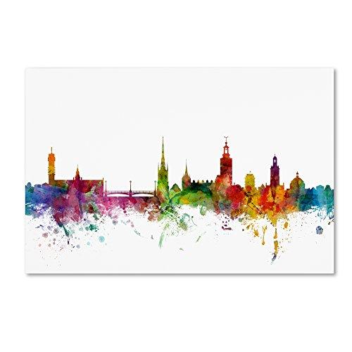 Stockholm Sweden Skyline by Michael Tompsett, 22x32-Inch Canvas Wall Art