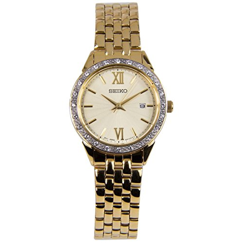 Gold Tone Bracelet Dress Quartz Watch SUR688 (Seiko Ladies Watch Champagne Dial)