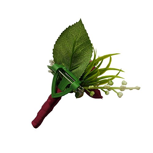 6 Pieces/lot Groom Boutonniere Man Buttonholes Wedding Flowers Party Decoration (Wine red)