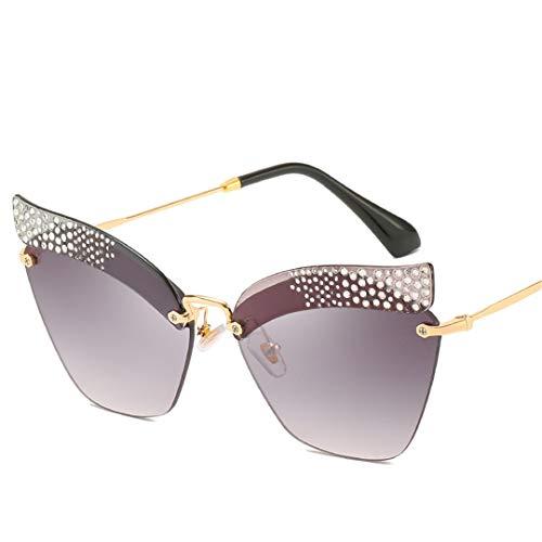 YHNSHKHKU Oversized Cat Eye Sunglasses Women Rimless Diamond Sunglasses Female Designer Vintage Metal Gradient Shades Uv400 ()
