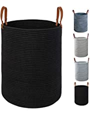 TOTANKI Large Cotton Rope Laundry Storage Basket - Collapsible Woven Basket with Leather Handles for Storing Clothing, Diapers, Toys - Stylish 15.7''(D) x 19.7''(H) Baby Hamper (Black)