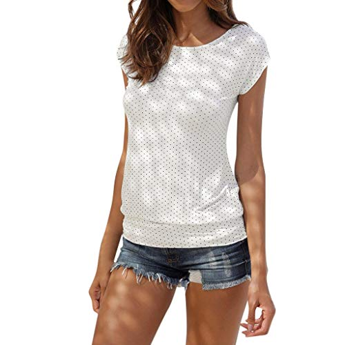 (Beautyfine Womens Knits & Tees Summer Short Sleeve O Neck Dot Printed Slim Fit Shirt Top Blouse)