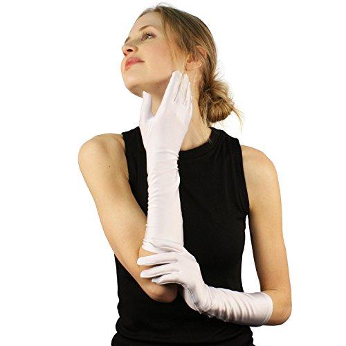 (Elegant Satin Matte No Shine Stretchy Dressy Evening Below Elbow Gloves White)