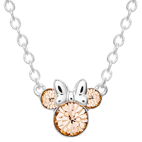 Disney Minnie Mouse Silver Plated Crystal June Birthstone Necklace - Necklace Crystal Peach