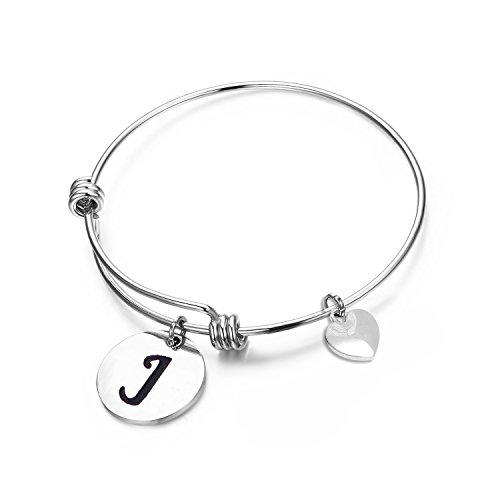 (MAOFAED Initial Bracelet Letter Bracelet Personalized Jewelry Hand Stamped Jewelry(J-2))