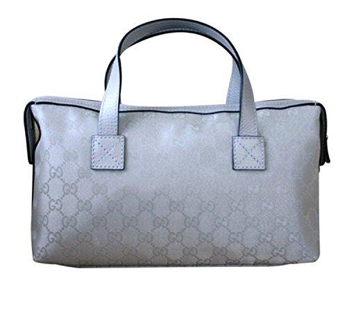 Gucci Boston Bowling Bag Canvas Handbag 264210 (Silver) (Gucci Purse Canvas)