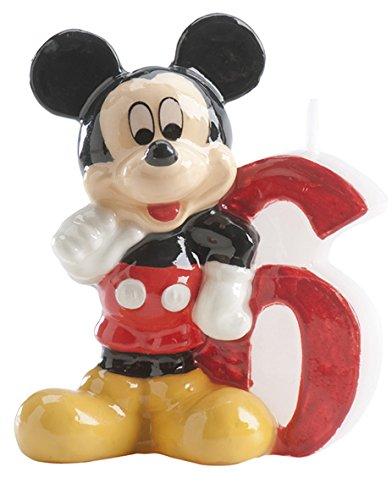 dekora 346146 Vela de Cumpleaños Mickey Mouse Numero 6, Cera, Multicolor, 6.5