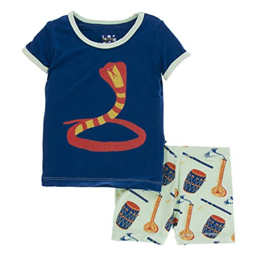 Kickee Pants Little Boys Print Short Sleeve Pajama Set with Shorts - Pistachio Indian Instruments, -