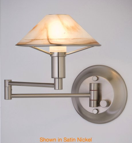 Holtkotter Satin Sconce - Holtkoetter 9426 SN ABR Lighting for The Aging Eye Halogen Swing-Arm Wall Sconce, Satin Nickel with Alabaster Brown Glass