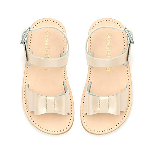 Freshly Picked - Bayview Toddler Girl Leather Sandals - Size 5 Platinum Gold