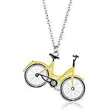 Silver Yellow Enamel Bike Bicycle Pendant necklace