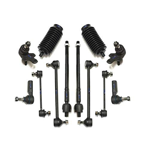 PartsW 12 Pc New Suspension Kit for Lexus ES300 / Toyota Avalon/Toyota Camry/Toyota Solara/Tie Rod Linkages, Front & Rear Sway Bar End Link, Lower Ball Joints, Steering Gear Bellows