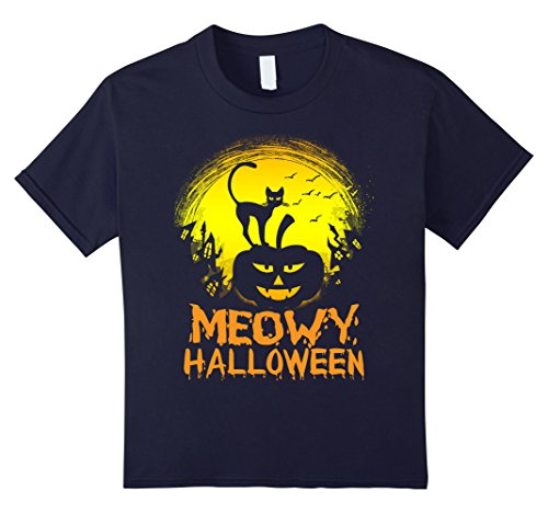 unisex-child Funny Meowy Cat Halloween Costumes For Men Women T Shirt  6 Navy