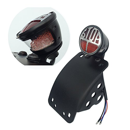 LED Side Mount Vertical Curved License Plate Bracket Brake Taillight for Harley (Mounted License Plate Bracket)