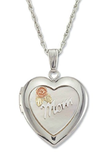 Heart Shaped Mom Locket with Mother of Pearl Necklace, Sterling Silver, 12k Green and Rose Gold Black Hills Gold Motif, 18