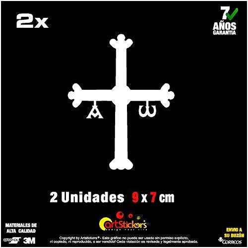 Blanco Desconocido Vinilo de Corte Pegatina Cruz Asturias 5,5x7cm
