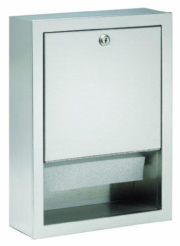 (Bradley 2441-000000 Standard Stainless Steel Low Capacity Recessed Towel Dispenser, 12-3/4
