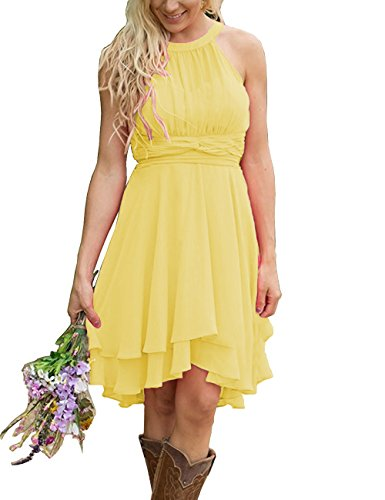 f763823c11 ModeC Women Halter Country Short Chiffon Hi-Lo Maid of Honor Bridesmaid  Dress Yellow US20W