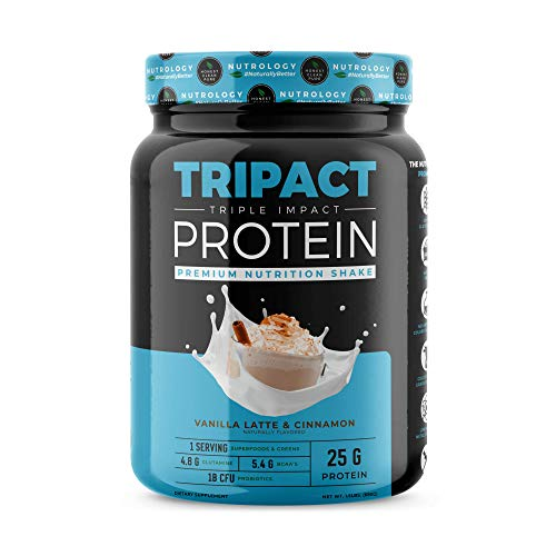 TRIPACT Protein - Vanilla Latte with Cinnamon 1.5lb. - Premium Nutrition Shake Featuring Non-GMO Grass Fed Whey Protein, Plant Proteins, Greens, Superfoods and Probiotics. (Best Whey Protein For Toning)
