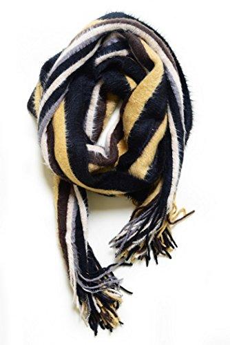 Fun Fluffy Scarf (ICONOFLASH Women's Winter Fashion Scarves 3 Style Bundle Pack, Neutral Stripes)