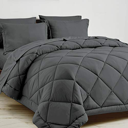 CozyLux Full/Queen Bed in a Bag 7-Pieces Comforter Sets with Comforter and Sheets Dark Grey All Season Bedding Sets with…