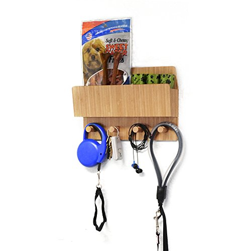 MobileVision Bamboo Pet Supply Organizer All-in-One Wall Mounted Dog Leash Holder/Rack Extra Space Compartment for Storage of pet Essentials Treats/Keys/Toys ()