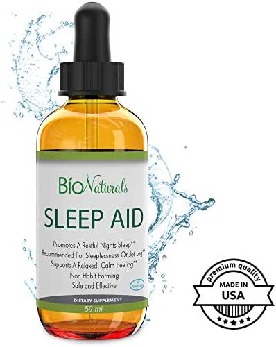 Bio Naturals Melatonin Sleep Aid Liquid Drops with Inositol, B6 & L-Theanine Reduces Stress & Anxiety - Potent Sublingual Formula Works Faster Than Sleeping Pills, Non-Habit Forming - 2 fl oz