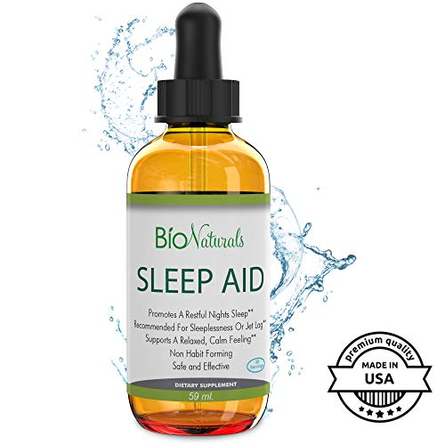 Bio Naturals Liquid Sleep Aid Drops with Melatonin, Inositol, B6 & L-Theanine Reduces Stress & Anxiety – Potent Sublingual Formula Works Faster Than Sleeping Pills, Non-Habit Forming – 2 fl oz