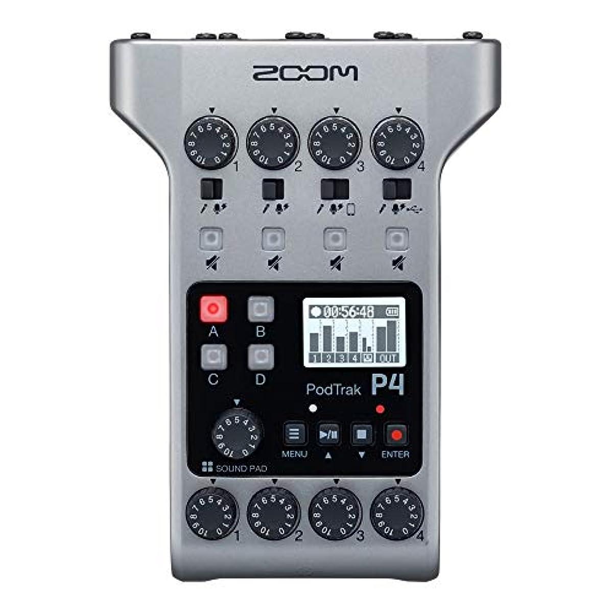 [해외] ZOOM 줌 4마이크 입력,4헤드폰 출력,4트럭동그린,폰 내엠보싱 가능한 사운드 패드 부착,팟캐스트 수그린&라이브 배신용 레코더 PODTRAK P4