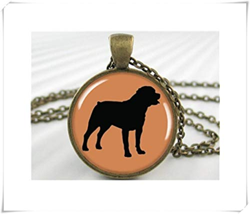 we are Forever family Rottweiler Silhouette Pendant, Resin Charm, Dog Necklace, Pet Dog Charm, Round Bronze