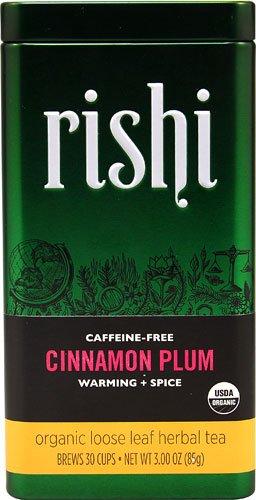 Rishi Tea Organic Loose Leaf Herbal Tea Caffeine Free Cinnamon Plum -- 3 oz - 3PC - Rishi Organic Cinnamon Plum Tea
