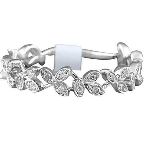 Slendima Exquisite Hollow Leaf Design Women Fashion Rhinestone Jewelry Engagement Wedding Ring Silver US 6 by Slendima (Image #1)