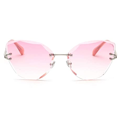 d3b127c16 Image Unavailable. Image not available for. Color: ZMYJX Sunglasses Rimless Clear  Sunglasses Women Cat Eye Pink Brown Green ...