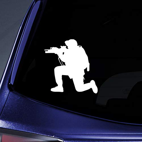 Bargain Max Decals - US Soldier Silhouette Army Shooter Guns Sticker Decal Notebook Car Laptop 6