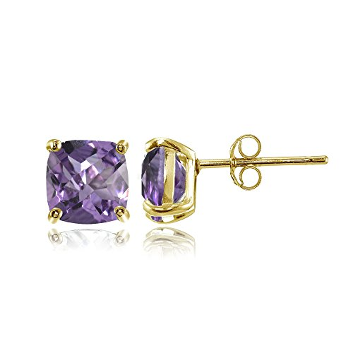 Yellow Gold Flashed Sterling Silver 6mm Cushion-Cut Amethyst Stud Earrings