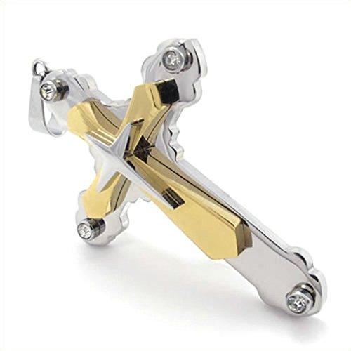 Stainless Steel Bullet Shape Bible Cross Necklace Charm Pendant - (Black) - 2
