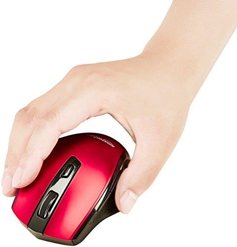 AmazonBasics Ergonomic Wireless PC Mouse - DPI adjustable - Red