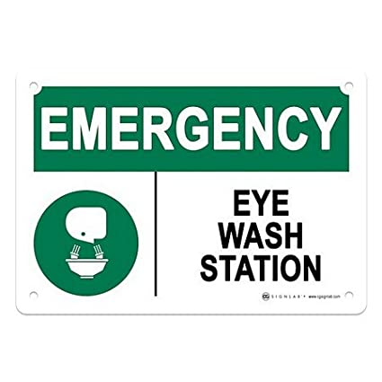 cgsignlab eye wash station emergency 040 industrial rust free aluminum osha safety - Eye Wash Station Osha