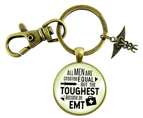 - Mens EMT Keychain All Men Are Created Equal But The Toughest Become An EMT Novelty Jewelry Gift Caduceus Charm