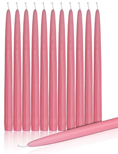 "Higlow Dripless Taper Candles 12"" Inch Tall Wedding Candle Set Of 12 … (PINK)"