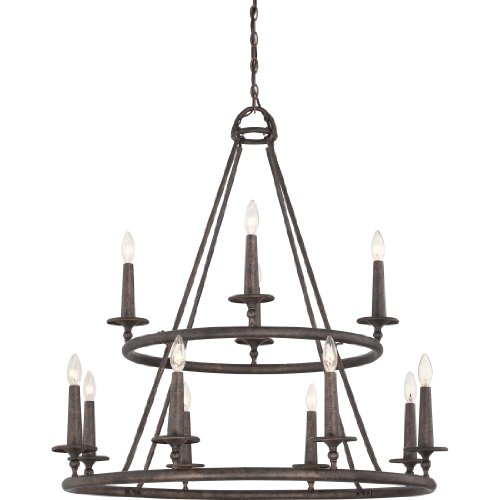 Quoizel VYR5012ML Voyager with Malaga Finish,  Two Tier Chandelier and 12 Lights,  Brown