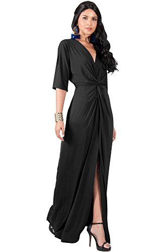 Cocktail Dresses Plus Sized (KOH KOH Plus Size Womens Long Sexy V-Neck Short Sleeve Cocktail Evening Bridesmaid Wedding Party Slimming Casual Summer Maxi Dress Dresses Gown Gowns, Black 3 X 22-24)