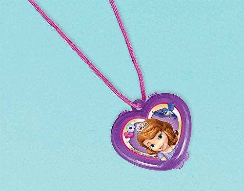 """Amscan Sofia the First Lip-Gloss Necklace Disney Party Favors, Violet, 1 1/4"""" x 1 1/4"""""""