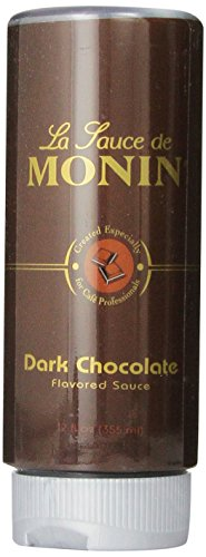 Monin Flavored Sauce, Dark Chocolate, 12-Ounce Bottles (Pack of 6) by Monin
