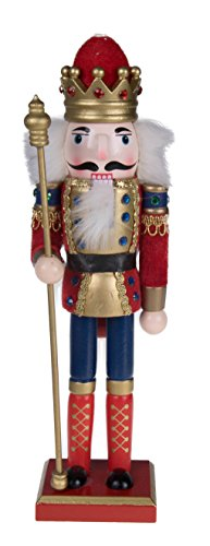 Clever Creations Traditional King Nutcracker Collectible Wooden Christmas Nutcracker | Festive Holiday Decor | Red and Blue Embellished Uniform | Holding Tall Gold Scepter | 100% Wood | 12